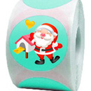 "Santa Claus Roll Sticker, Christmas Motivational Stickers, 250pcs per Roll, 2""Dia"
