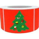 "Christmas Tree Roll Sticker, Christmas Design Sticker, 250pcs per Roll, 1.5"" x 2.5"""