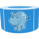"Funny Cartoon Hippos Roll Sticker, 250pcs per Roll, 1.5"" x 2.5"", Light Blue"