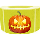 "Crazy Pumpkin Roll Sticker, Halloween sticker, 250pcs per Roll, 1.5"" x 2.5"""