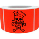 "Rectangle Red and Black Pirate Skull Stickers, 250pcs per Roll, 1.5"" x 2.5"""