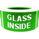"GLASS INSIDE Shipping Labels, 500pcs per Roll, 2"" x 4"" - Green"
