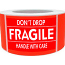 "DON'T DROP/FRAGILE/HANDLE WITH CARE Shipping Labels, 500pcs per Roll, 2"" x 4"" - Red"