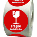 "International Safe Handling Labels - ""Fragile"" with Broken Glass, 250pcs per Roll, 2""Dia - Red/White"