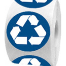"RECYCLE Stickers, 250pcs per Roll, 2""Dia - White/Blue"