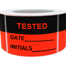 "Inventory Control Labels - ""TESTED DATE____INITIALS____"", 500pcs/Roll, 2.5"" x 3.5"" - Black/Red"
