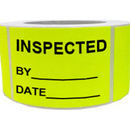 "INSPECTED BY__ DATE__ Inventory Labels, 500pcs per Roll, 2.5"" x 3.5"" - Yellow"