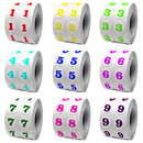"Colored Number Labels,0.5"" Dia, 1000pcs per roll"