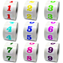 "Square Colorful Number Decals, 0.75""*0.75"", 500pcs/Roll"