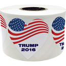 """TRUMP 2016"" Stickers, 2"" Dia, 500pcs/Roll - Heart Shape"