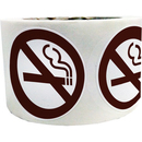 "NO SMOKING Stickers, 1.5"" Dia, 500pcs/Roll - Brown"
