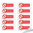 "Thank You For Not Smoking Stickers, 1.5""x 4.5"", 10 pcs/Sheet"
