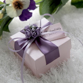 "Blank Delicate Purple Wedding Favor White Box with Tag, 2.36""L*2.36""W*1.58""H, Price/Piece"
