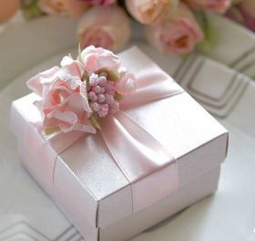 "Blank Pink Flower Elegant Wedding Gift Box with Custom Tag, 2.56""L*2.56""W*1.58""H, Price/Piece"