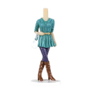 Custom Bobbleheads - Woman in Green Blouse, Blue Jean and Brown Boots, Approx. 7