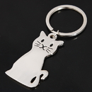 Custom Metal Cat Shaped Key Chain, Laser Engraved