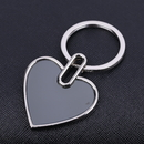 Blank Heart Shaped Keychain in Polished Chrome Finish, 1.75