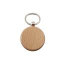 Blank Round Beech Wood Key Fob w/ Ring, 1-1/2