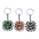Custom Double Colors Poker Chip Keychain, Decal Imprint, 1.6