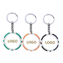 Custom Double Colors Casino Poker Chip Keychain, Hot Stamped, 1.6