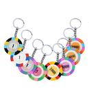 Custom Three Colors Poker Chip Keychain, Decal Imprint, 1.6