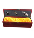 Blank Single Wine Bottle Case with 3 Pieces Wine Accessories, Wooden Case