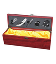 Blank Single Wine Bottle Case with 5 Pieces Wine Accessories, Wooden Case