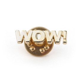 "Stock Cast Motivational Lapel Pins - Wow, 1"", Price/Piece"
