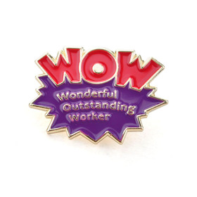 "Stock Wonderful Outstanding Worker WOW Lapel Pins, 1"", Price/Piece"