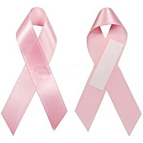 "Pink Breast Cancer Silk Ribbons with Sticker, 1"", Price/Piece"