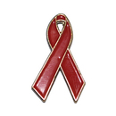 AIDS & HIV Red Awareness Ribbon Stock Pins, 1""