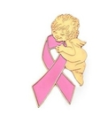 Breast Cancer Angel Ribbon Pin, Cute Design
