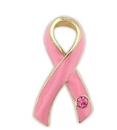 Breast Cancer Stone Ribbon Pin, Gold Edge Design