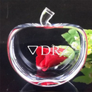 Customized Flat Apple Optical Crystal Paperweight - Long Leadtime, 3.3