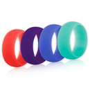 (Price/4 Pcs) GOGO Women's Silicone Wedding Rings Pack - 9 mm Wide (2 mm Thick) - Coral, Dark Purple, Periwinkle Blue, Steal