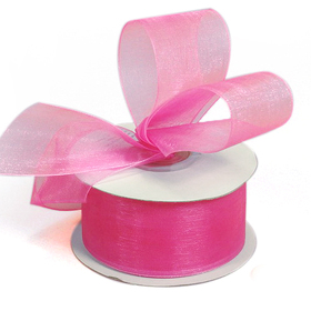 "Shimmer Sheer Organza Ribbons, 1/4"" Wide by 25 Yards - Hot Pink"