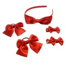 Alice Girls' Bow Hair Hoop Set with Matched Ponytail Ties & Hair Clips