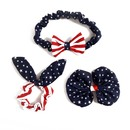 Alice Girls' USA Flag Style Hair Band Set, Bow Headband $ Hair Tie & Hair Clip
