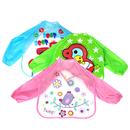 Opromo Waterproof Baby Art Smock with Sleeves, Baby Feeding Bibs, 15 3/4