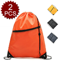 Opromo Polyester Drawstring Backpack with Front Zipper, 13.5 Inch W x 16.5 Inch H - 2 Pieces