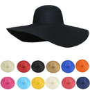 Opromo Women's Beachwear Sun Cap Straw Hat Fold Roll Up Big Brim Floppy Hat