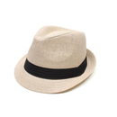 Opromo Men & Women's Summer Short Brim Straw Trilby Fedora Hat with Solid Band