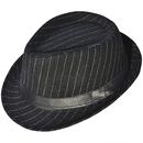 Opromo Classic Striped Unisex Manhattan Structured Gangster Trilby Fedora Hat