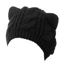 Opromo Women's Acrylic Hat Knitted Cat Ear Crochet Braided Cable Knit Ski Caps