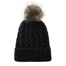 Opromo Winter Hand Knit Faux Fur Pompoms Beanie Hat Soft Knitted Beanie Ski Hat
