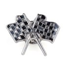 (Price/100PCS) ALICE Checkered Flags Lapel Pins, 1