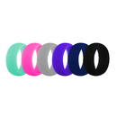 (Price/6 Pcs) GOGO Premium Women's Silicone Wedding Rings - 9 mm Wide(2 mm Thick) Flexible Wedding Bands - Great Gifts for Birthday or Anniversary