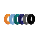 (Price/6 Pcs) GOGO Premium Man's Silicone Wedding Rings - 9 mm Wide(3 mm Thick)  Flexible Wedding Bands - Great for Sports or Outdoors