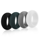 (Price/4 Pcs) GOGO Men's Silicone Wedding Rings Pack - 9 mm Wide (3 mm Thick) - Black, Dark Green, Grey, White