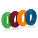 (Price/4 Pcs) GOGO Men's Silicone Wedding Rings Pack - 9 mm Wide (3 mm Thick) - Lime Green, Maroon, Orange, Sea Blue